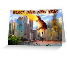 Happy New Year - Fiery Dinosaur   Greeting Card