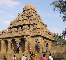 Indian tourists enjoying seaside temples, Mahaballapurum, India by indiafrank