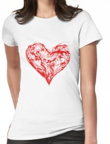 Abstract Red Heart  Womens Fitted T-Shirt