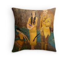 A Lenni-Lenape Family By The Great Falls on the Passaic River Throw Pillow