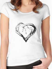 Abstract Black Heart  Women's Fitted Scoop T-Shirt