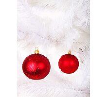 2 Red Christmas Decoration Balls Photographic Print