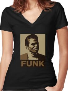 James Brown: FUNK Women's Fitted V-Neck T-Shirt