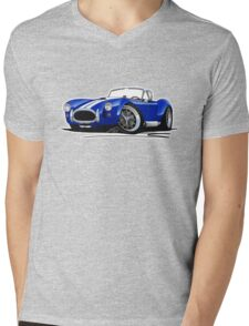 AC / Shelby Cobra Blue (White Stripes) Mens V-Neck T-Shirt
