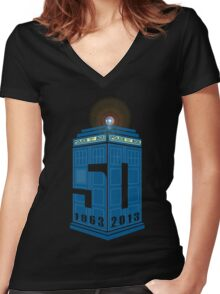 Who's turning 50 Women's Fitted V-Neck T-Shirt