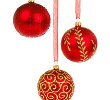 3 Red Christmas Decoration Balls by boogeyman