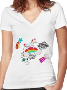 Unicorn And Penguin Craptastic Day Women's Fitted V-Neck T-Shirt