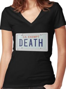 Government Plates by Death Grips Women's Fitted V-Neck T-Shirt