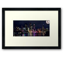 Brisbane - Night Lights Framed Print