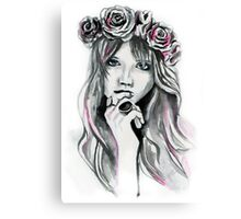 Abbey and her Flowers Canvas Print