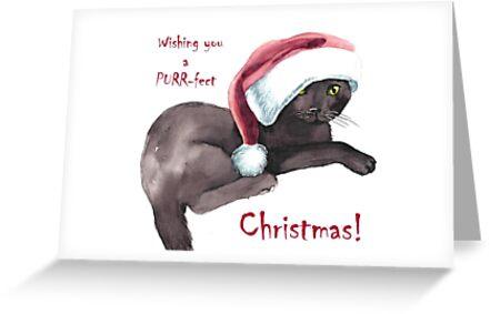 Kitten Christmas Card by Pachionart