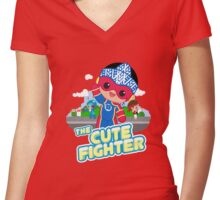 The Cute Fighter Women's Fitted V-Neck T-Shirt