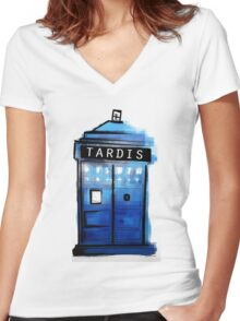Tardis! Women's Fitted V-Neck T-Shirt