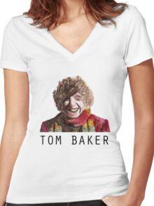 Tom Baker! Women's Fitted V-Neck T-Shirt