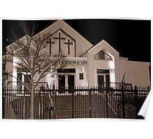 Little Church at Night B&W Poster