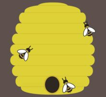 Beehive with 3 busy bees by ilovecotton