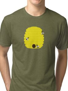 Beehive with 3 busy bees Tri-blend T-Shirt