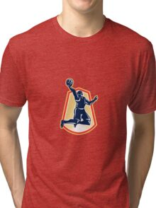 Basketball Player Dunk Rebound Ball Retro Tri-blend T-Shirt