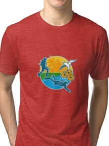 Hiker Scuba Diver Island Tropicbird Flowers Retro Tri-blend T-Shirt