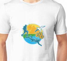 Hiker Scuba Diver Island Tropicbird Flowers Retro Unisex T-Shirt