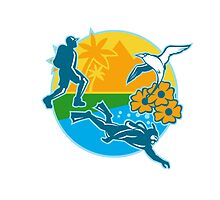 Hiker Scuba Diver Island Tropicbird Flowers Retro by patrimonio