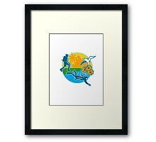 Hiker Scuba Diver Island Tropicbird Flowers Retro Framed Print