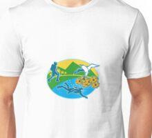 Scuba Diver Hiker Island Tropicbird Flowers Retro Unisex T-Shirt