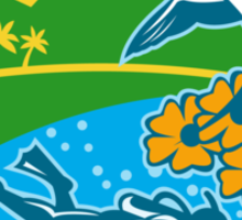 Scuba Diver Hiker Island Tropicbird Flowers Retro Sticker