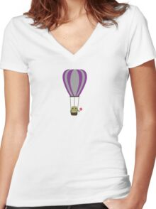 Owl in hot-air balloon with a lollipop Women's Fitted V-Neck T-Shirt