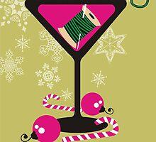 mod martini needle thread sewing seamstress Christmas card by BigMRanch