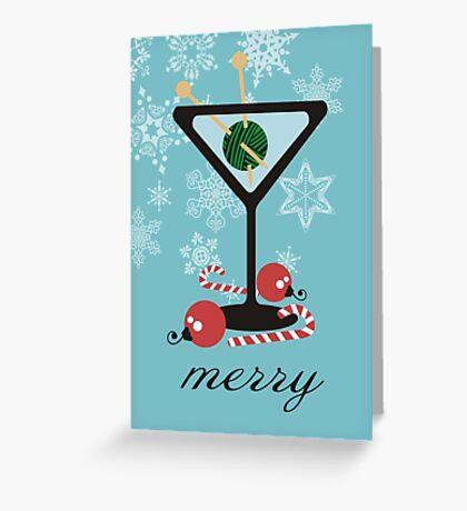mod martini knitting needles yarn Christmas card Greeting Card