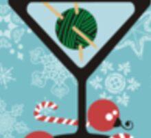 mod martini knitting needles yarn Christmas card Sticker
