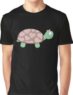 Cute Turtle with hearts and pink ribbon Graphic T-Shirt