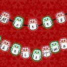 Merry Christmas- Gingham Penguins by Margybear