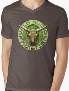 Wild Audio Frontier Headphone MP3 Cattle Skull Graphic Mens V-Neck T-Shirt