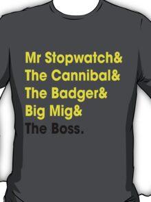 5 Times Tour Winners Nicknames (Yellow) T-Shirt
