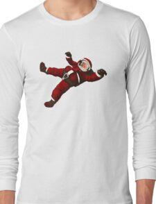 Christmas Santa Space Man Astronaut in Orbit Long Sleeve T-Shirt