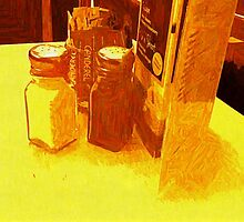 CRUET AND SUGARS AND MENU by Terry Collett