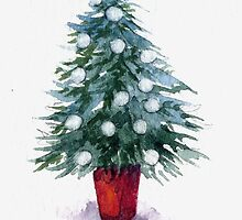 Christmas Tree with white baubles by Helen Lush