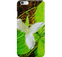 Snow Trillium a Wildflower Abstract Impressionism iPhone Case/Skin