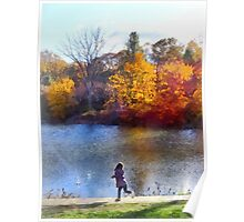 Little Girl Skipping Rocks Poster