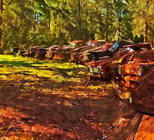 Rusty Old Cars and Trucks 2 Abstract Impressionism by pjwuebker