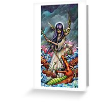 Woman Slaying a Sea Serpent Greeting Card