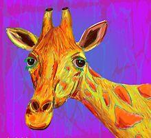 Funky Giraffe in Yellow and Orange by ibadishi