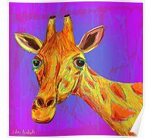 Funky Giraffe in Yellow and Orange Poster