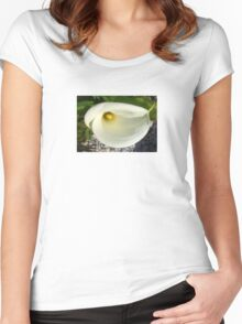 Overhead Shot of A Cream Calla Lily In Soft Focus Women's Fitted Scoop T-Shirt