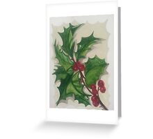 Holly with Red Berries Greeting Card