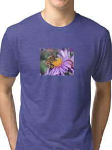Honey Bee On Purple Flower Tri-blend T-Shirt