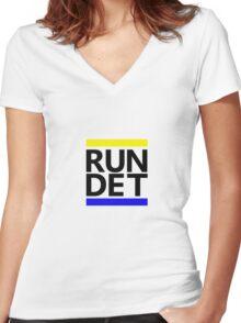 RUN DET Women's Fitted V-Neck T-Shirt