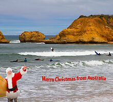 Santa Surfing at Blairgowrie by Pauline Tims